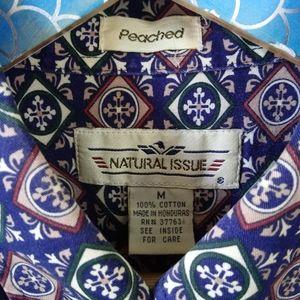 Vintage Shirts - Vintage Navy Mosaic Geo Pattern Button Down M